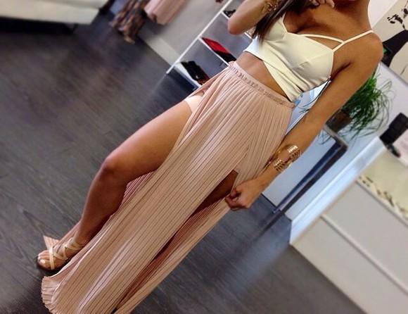 maxi skirt nude