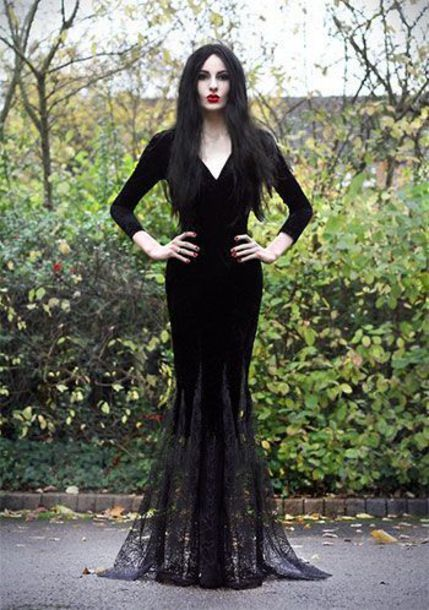 Dress Morticia Addams Lace Black Lace Dress With Sleeves