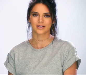 jewels jewelry kendall jenner necklace gold choker kendall jenner jewelry gold necklace choker necklace keeping up with the kardashians celebrity style celebstyle for less model model off-duty kardashians celebrity