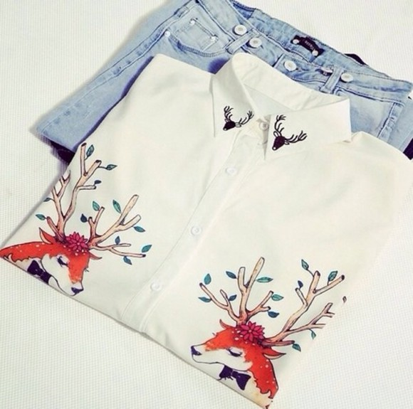 white deer blouse white blouse long sleeves sheer button down flowy blouse button down shirt