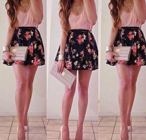 shirt pink floral skirt skater skirt spring summer flirty skirt spring skirt mini skirt black with flower design