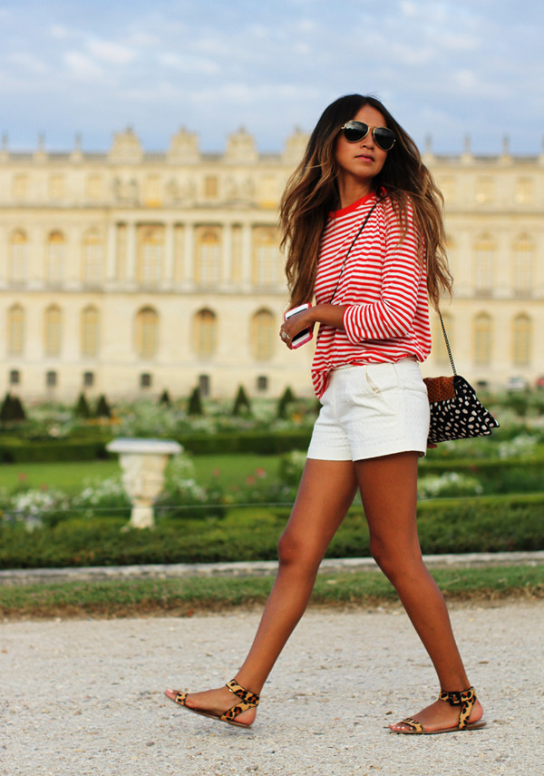 sincerely jules dress shoes bag sunglasses jewels t-shirt shorts shirt sweater red white stripes