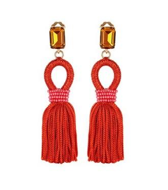 tassel embellished earrings red jewels