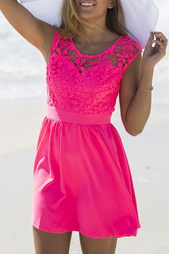 dress hot pink summer cute trendy beach fashion style crochet girly zaful