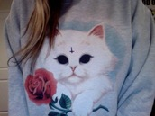 sweater,cats,oversized sweater,sweatshirt,jumper,make-up,shoes,clothes,high hells,rose,flowers,devil,white,grey sweater,shirt,cute,creepy,pastel,pastel goth,grey,grunge,cross,white cat,cat sweater
