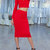 Women's Long Sleeves Cropped Top Pencil Skirt Co Ords Set