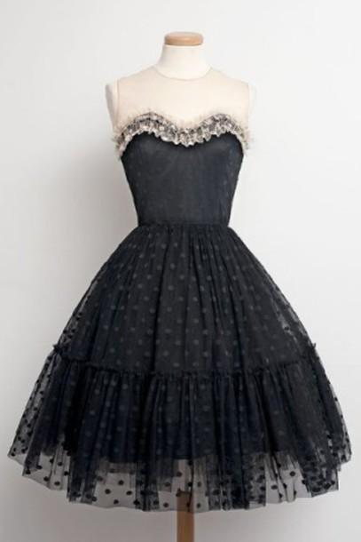 2cb8f388338 dress black puffy fashion style cocktail dress lace cute girly trendy dec rosegal  rosegal-dec