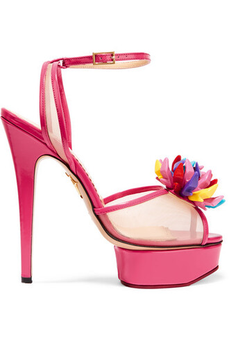 mesh sandals leather pink shoes