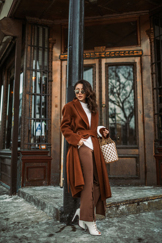 not jess fashion blogger bag coat sweater pants shoes winter outfits brown coat brown pants