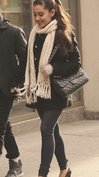 coat ariana grande winter outfits pants scarf