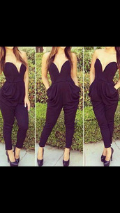 jumpsuit,dress,black overalls,sexy dress,party dress,black high heels