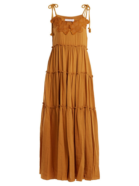 SEE BY CHLOÉ Floral-embroidered cotton dress in yellow