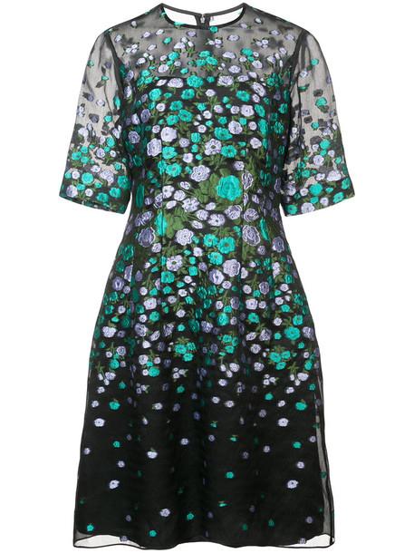 Lela Rose dress flare dress flare women fit black silk