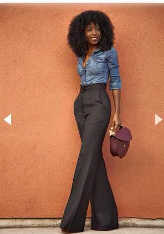 pants black pants outfit fashion classy lady a la mode