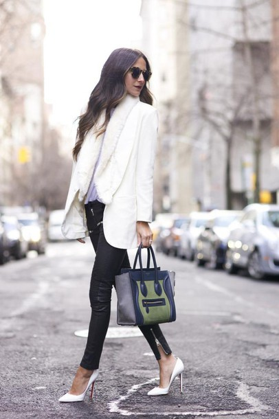 something navy blogger sunglasses bag celine blazer