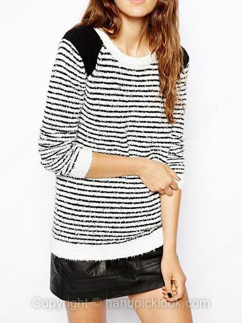 White Round Neck Long Sleeve Striped Sweater - HandpickLook.com