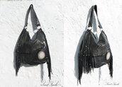 bag,black fringe bag,festival black leather bag,agate slice,kat von d clothes,gothic leather bag,goth hipster,goth
