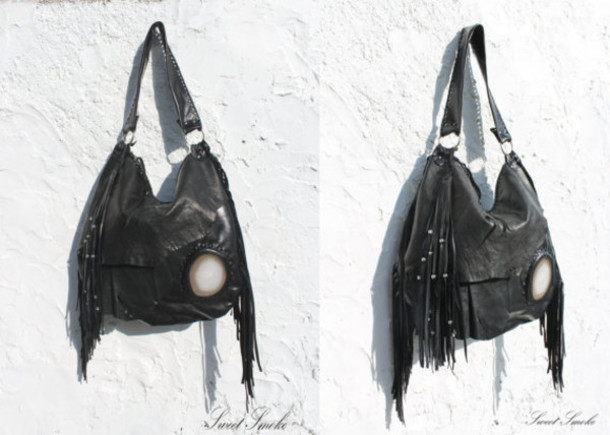 bag black fringe bag festival black leather bag agate slice kat von d clothes gothic leather bag goth hipster goth