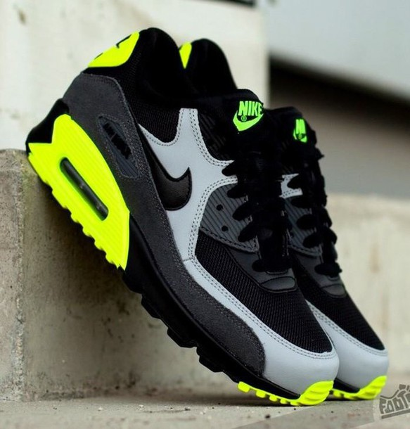 f2839b70712f8d shoes nike nike shoes nike running shoes nike air neon yellow green black  grey
