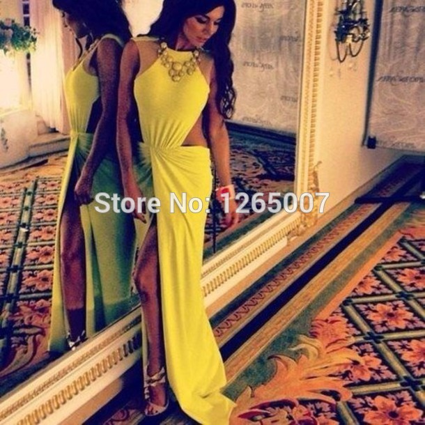Aliexpress.com : Buy Round O Neck Cap Sleeves See Through Cut Out Ruffles Slit Front Yellow Long Prom Dress Fashion Gowns Maxi Long Dress from Reliable dress kimono suppliers on SFBridal