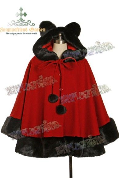 coat cape black lolita winter coat red