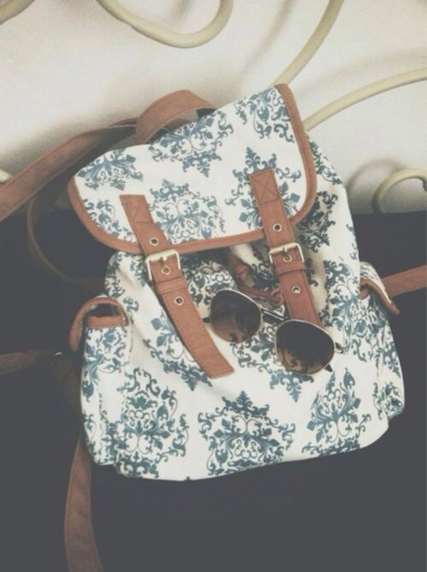 bag brown mint blue and white flowers girl backpack school bag back to school