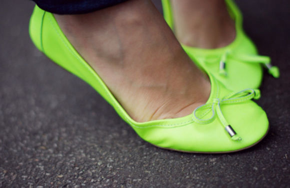 yellow shoes neon ballet flats fluo yellow fluo