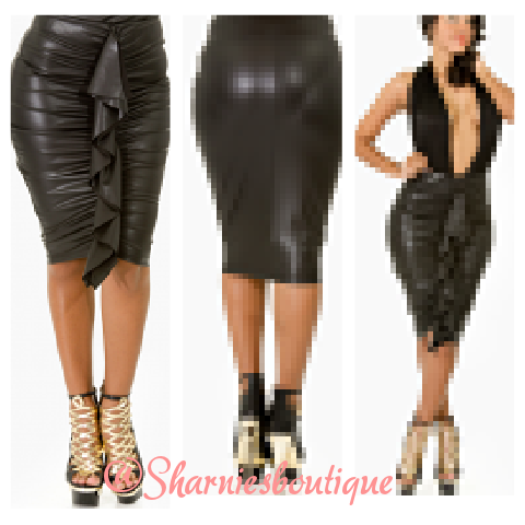 Sharnie's — Leather ruffle skirt