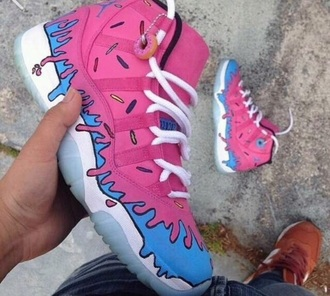 shoes donut pink jordans blue dope