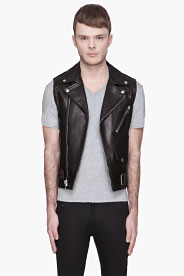 Saint Laurent Black Leather Classic Biker Vest for men | SSENSE