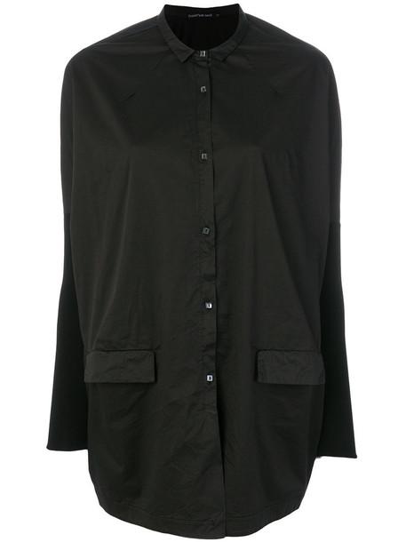 Transit - contrast sleeve shirt - women - Cotton/Spandex/Elastane/Viscose - 34, Black, Cotton/Spandex/Elastane/Viscose