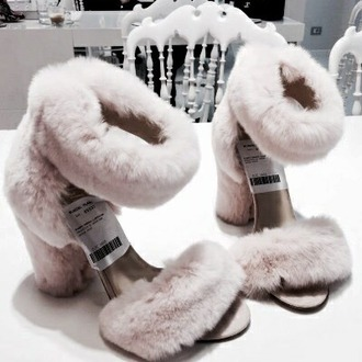 shoes pink fluffy shoes high heels