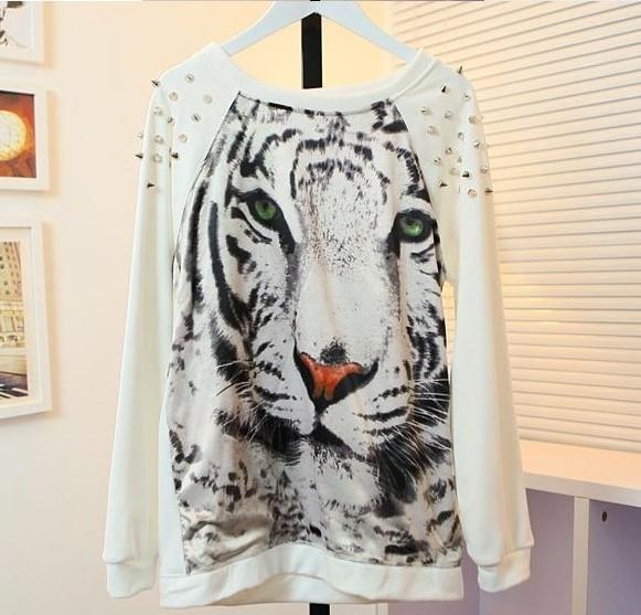 женский punk заклепка с длинным рукавом loose свитера тигр печати рубашку