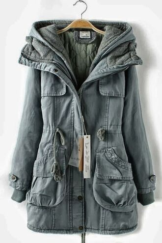 hot green jacket winter outfits winterjacket falljackeet fall outfits warm soft fall sweater anorak winter jacket fall jacket hooded jacket army green jacket gray jacket lined military coat greycoat