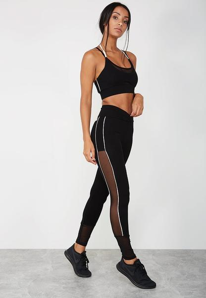 Contrast Piped Wrap Front Leggings - Black
