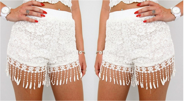 shorts lace shorts white shorts fashion shorts flower shorts tassel shorts
