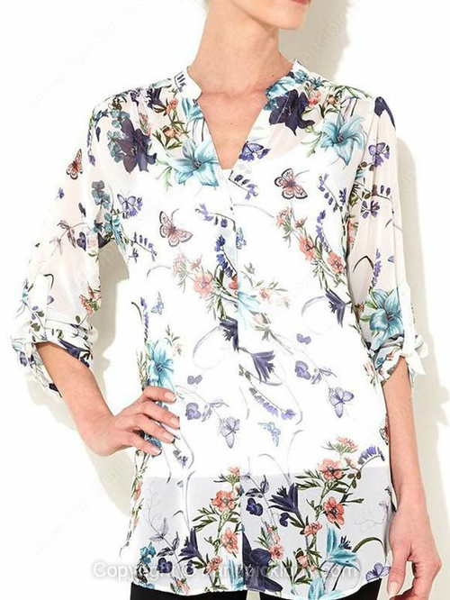 White V-neck Three Quarter Length Sleeve Floral Print Blouse - HandpickLook.com