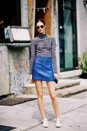 vanessa jackman,blogger,metallic,sparkle,blue skirt,turtleneck,shoes,skirt,metallic skirt