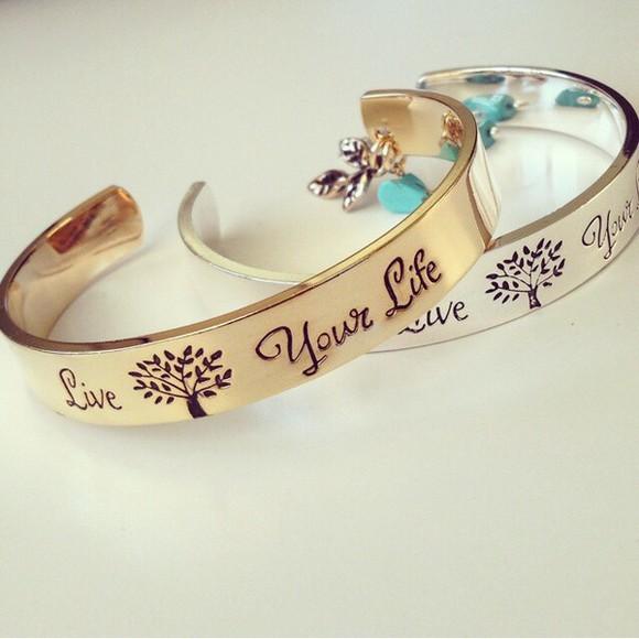 jewels gold bracelets gold jewelry gold bracelets quote on it silver silver bracelets tree print