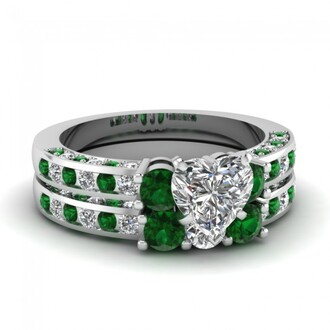 jewels green emerald ring set evolees.com engagement ring