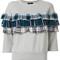 Diesel - plaid ruffle detail sweatshirt - women - cotton - s, grey, cotton
