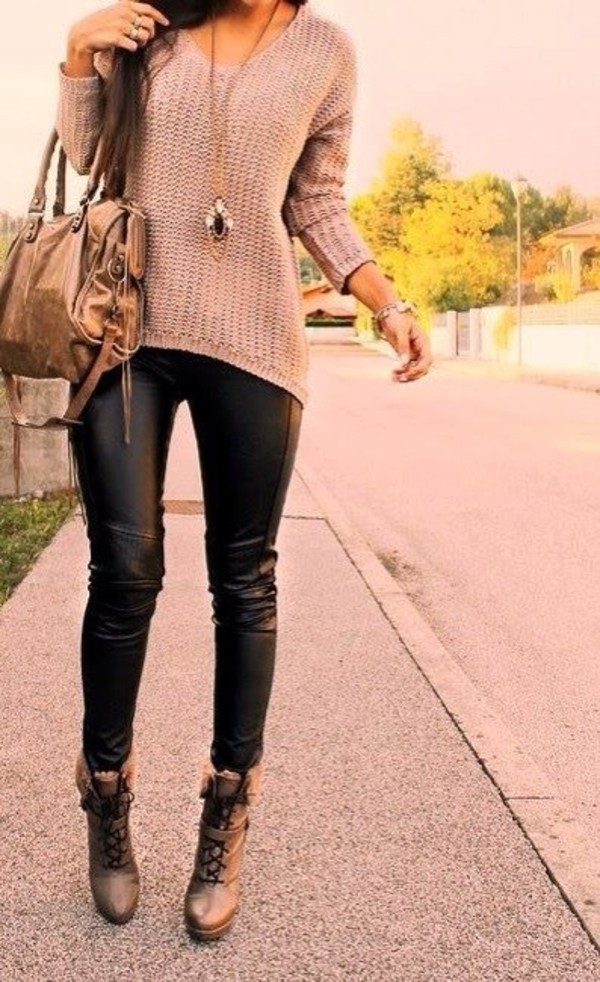 pants leather pants black leather sweater leggings beige sweater knit pleather heels shoes top jumper sweatshirt pink