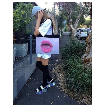 bag snapback holographic shoes over the knee socks tumblr outfits grunge socks