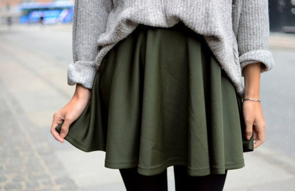 oversized sweater sweater olive green forrest grey gray tights cute fall outfits fall outfits winter outfits shirt skirt cool sweet