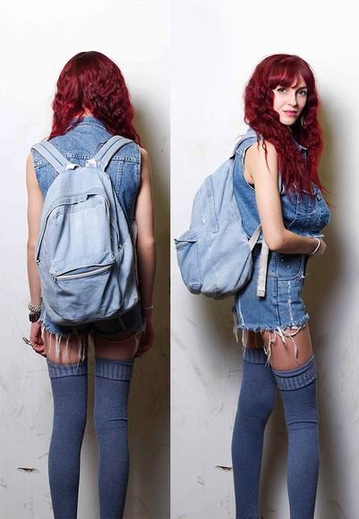 blue bag backpack rucksack denim denim bag
