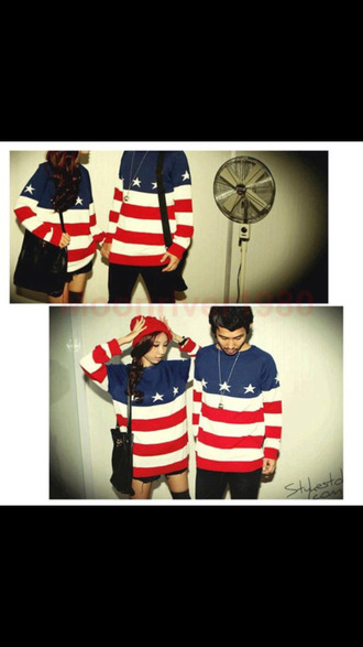 red white and blue couple sweaters