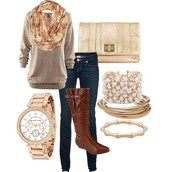 blouse,clothes,scarf,boots,watch,bracelets,clutch,jeans,sweater,bag,shirt,jewels,brown boots,gold bracelet,hat,shoes,top