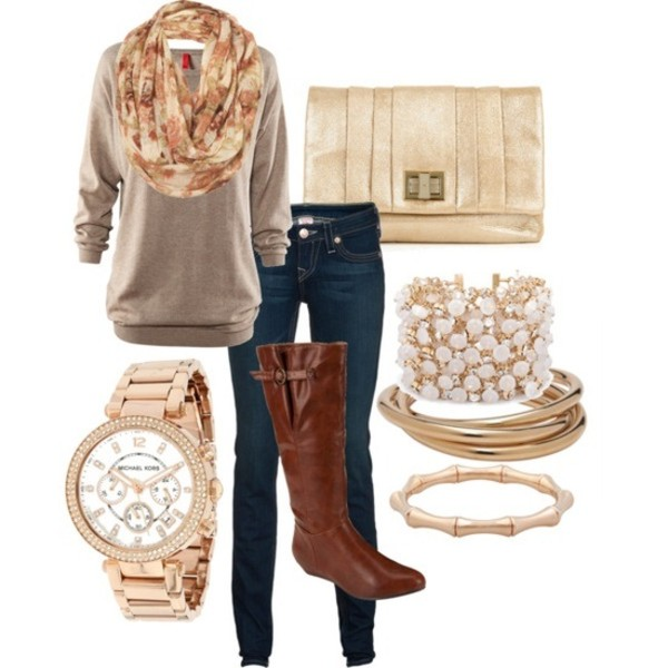 blouse clothes scarf boots watch bracelets clutch jeans sweater bag shirt jewels brown boots gold bracelet clutch hat shoes top