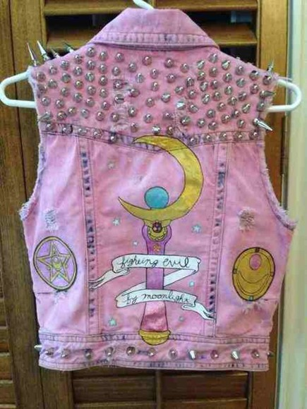pastel kawaii pastel pink top vest pink sailor moon anime kawaii grunge spikes soft grunge jewels