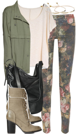 jeans bag beautiful jeans boots heel boots grey boots big bag black bag jacket white t-shirt floral floral jeans green jacket jewels jewelry silver spring outfits shoes t-shirt